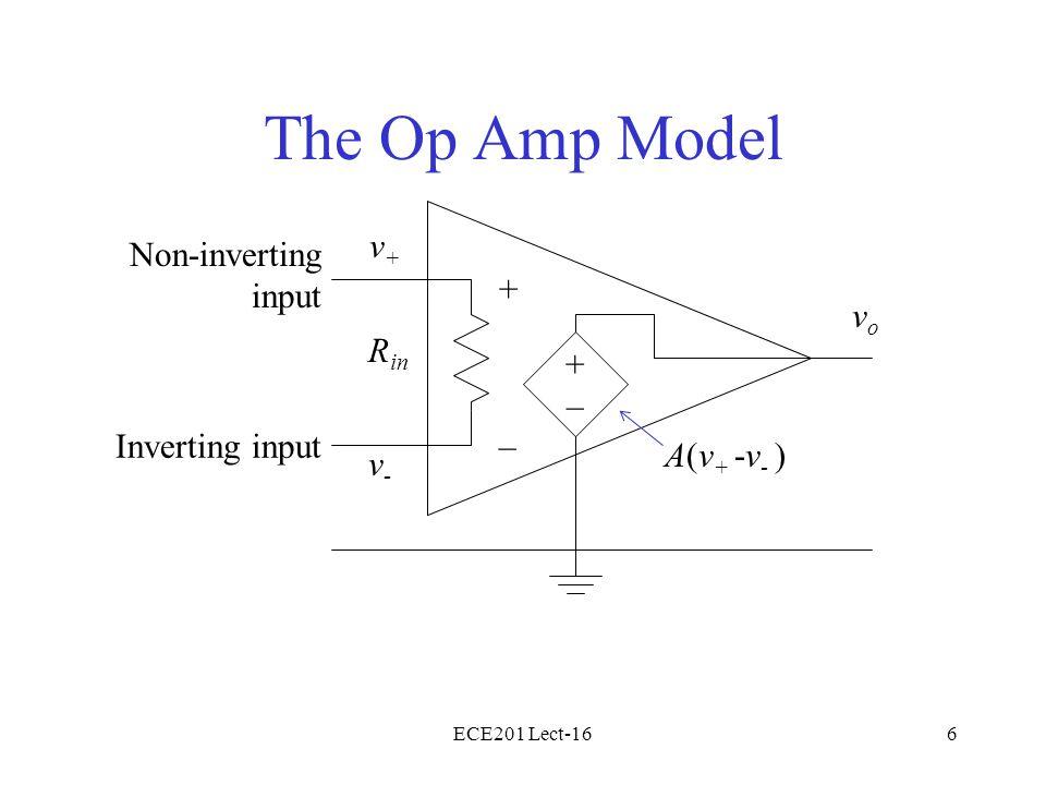 ECE201 Lect-166 The Op Amp Model + –Inverting input Non-inverting input R in v+v+ v-v- +–+– A(v + -v - ) vovo