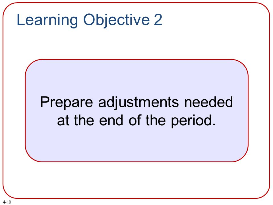 Learning Objective 2 Prepare adjustments needed at the end of the period. 4-10
