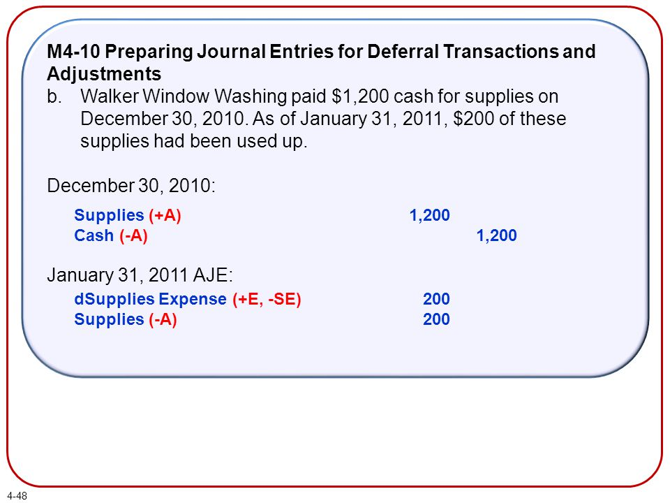 M4-10 Preparing Journal Entries for Deferral Transactions and Adjustments b.Walker Window Washing paid $1,200 cash for supplies on December 30, 2010.