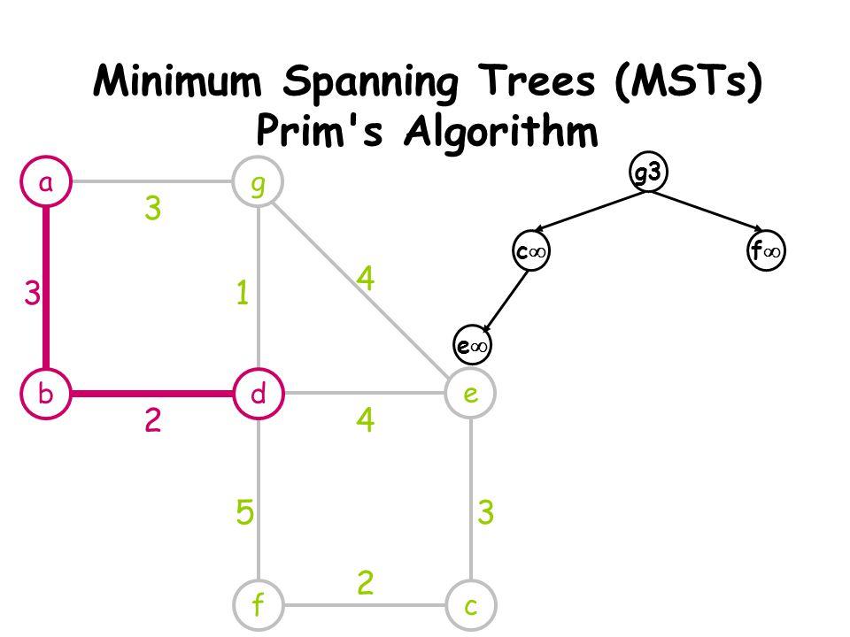 Minimum Spanning Trees (MSTs) Prim s Algorithm g e cf 3 1 4 4 53 2 g3 cc ff ee a db 3 2