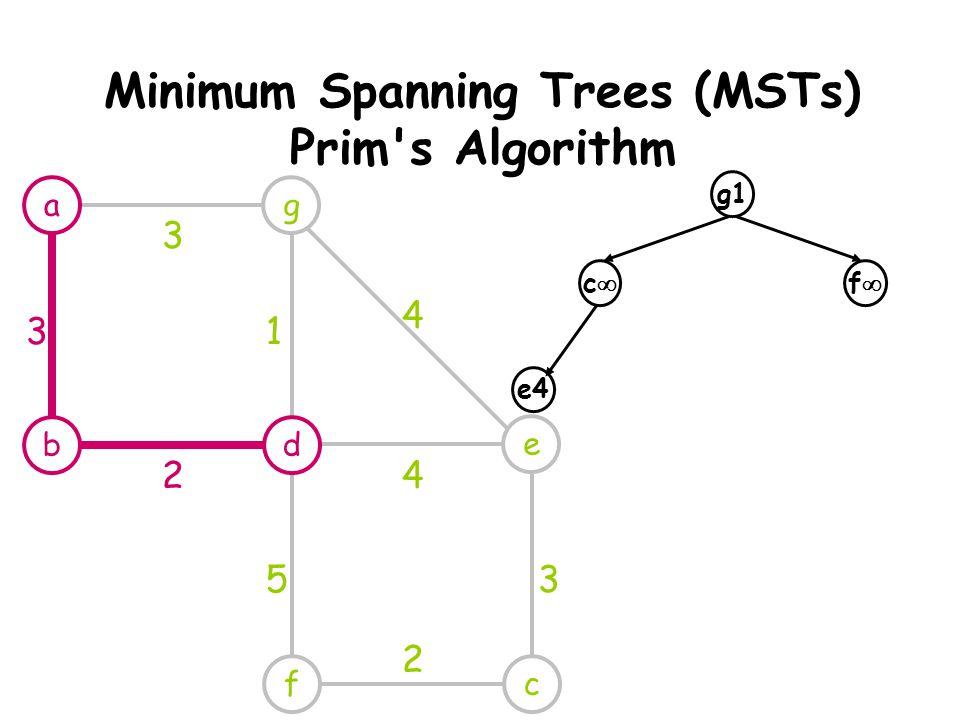 Minimum Spanning Trees (MSTs) Prim s Algorithm g e cf 3 1 4 4 53 2 g1 cc ff e4 a db 3 2