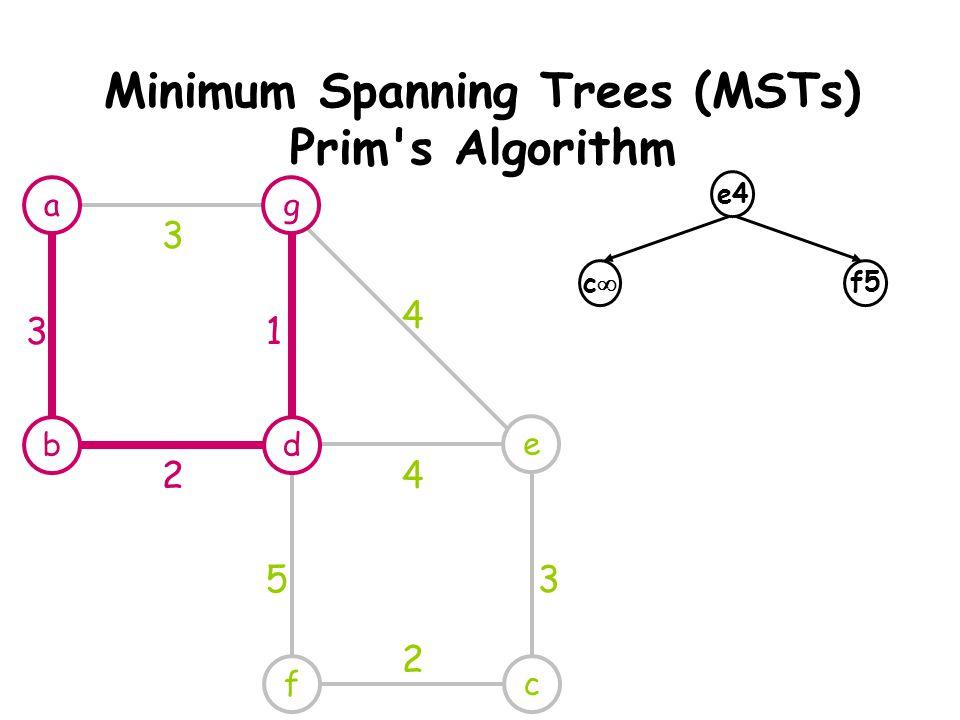 Minimum Spanning Trees (MSTs) Prim s Algorithm e cf 4 4 53 2 e4 cc f5 ag db 3 31 2