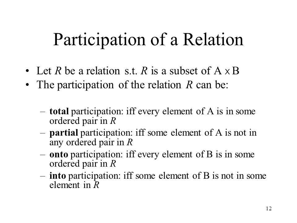 12 Participation of a Relation Let R be a relation s.t. R is a subset of A X B The participation of the relation R can be: –total participation: iff e