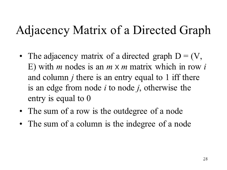 28 Adjacency Matrix of a Directed Graph The adjacency matrix of a directed graph D = (V, E) with m nodes is an m X m matrix which in row i and column