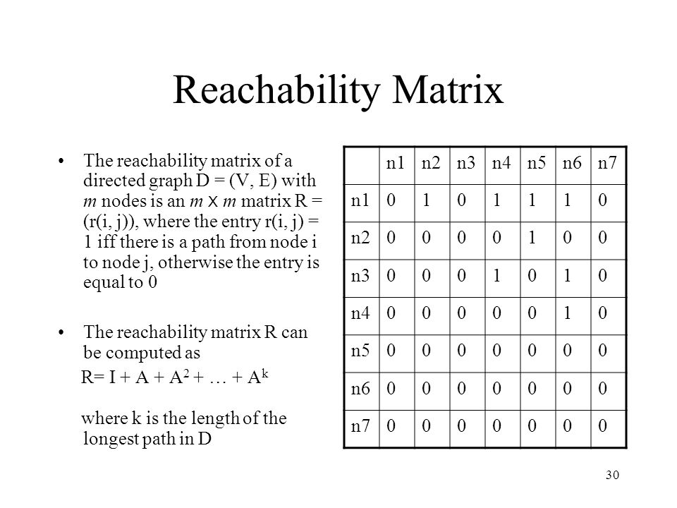 30 Reachability Matrix The reachability matrix of a directed graph D = (V, E) with m nodes is an m X m matrix R = (r(i, j)), where the entry r(i, j) = 1 iff there is a path from node i to node j, otherwise the entry is equal to 0 The reachability matrix R can be computed as R= I + A + A 2 + … + A k where k is the length of the longest path in D n1n2n3n4n5n6n7 n10101110 n20000100 n30001010 n40000010 n50000000 n60000000 n70000000