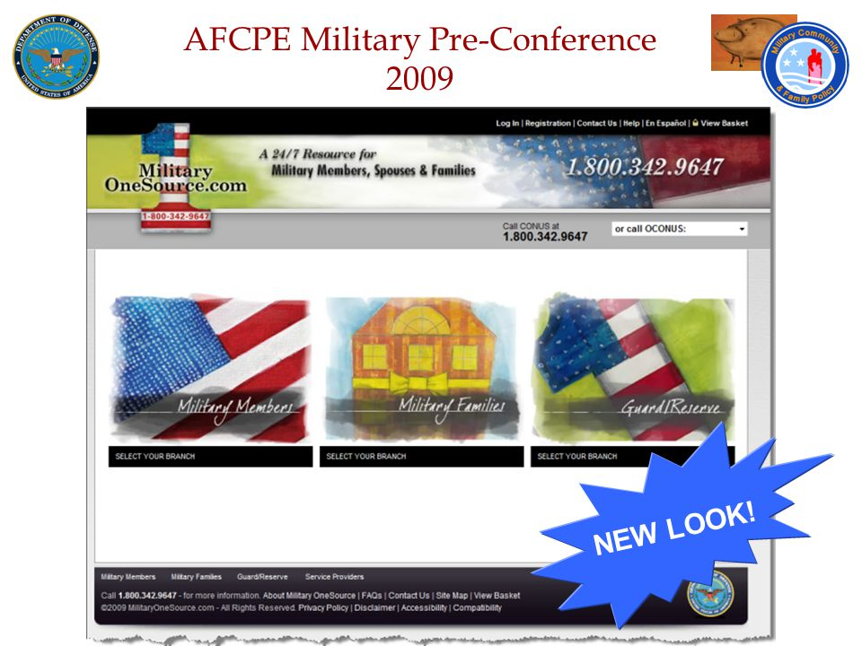 Defense Senior Leadership Spouses ' Conference NGB – Joint Family Program Volunteer Workshop AFCPE Military Pre-Conference 2009 NEW LOOK!