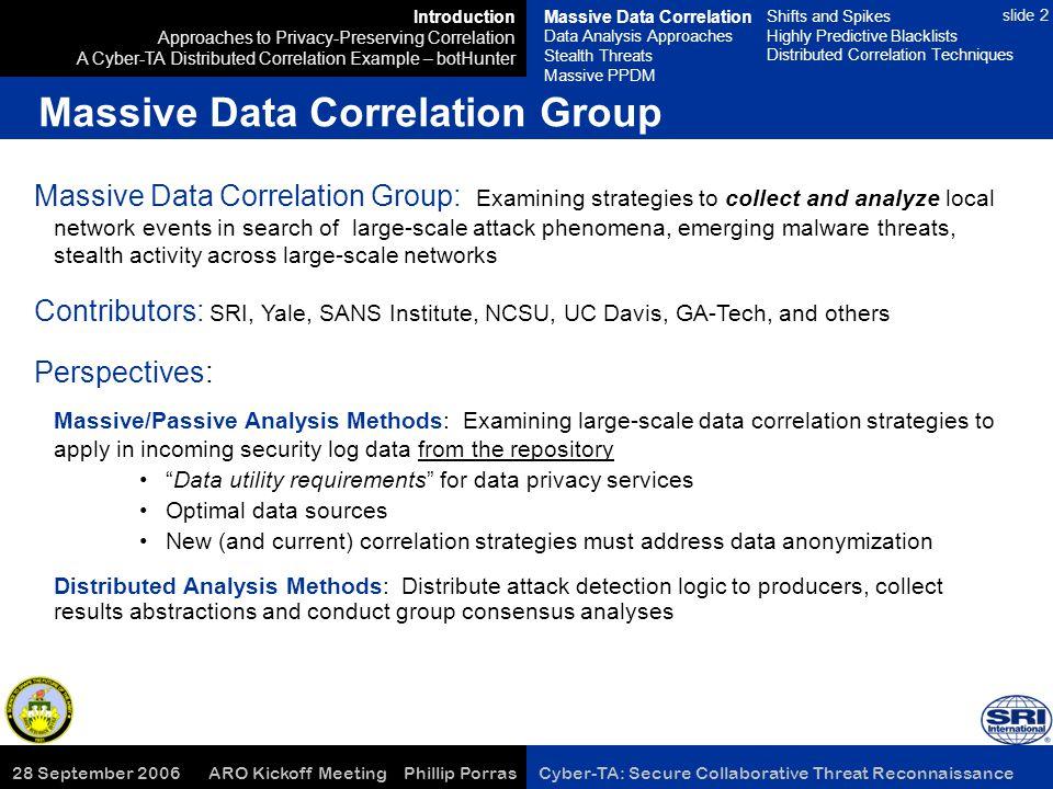 28 September 2006 ARO Kickoff Meeting Phillip Porras Cyber-TA: Secure Collaborative Threat Reconnaissance slide 2 Massive Data Correlation Group: Exam