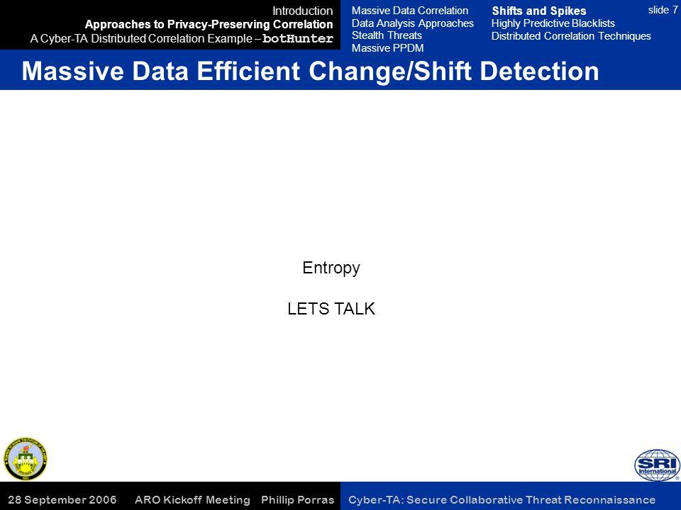 28 September 2006 ARO Kickoff Meeting Phillip Porras Cyber-TA: Secure Collaborative Threat Reconnaissance slide 7 Massive Data Efficient Change/Shift