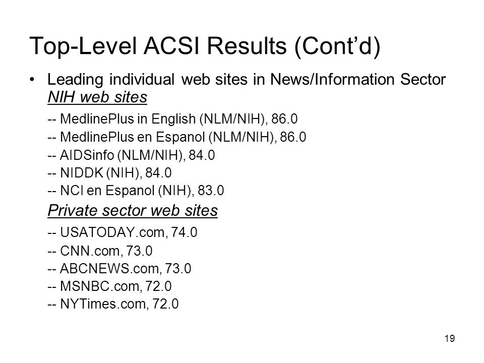 19 Top-Level ACSI Results (Cont'd) Leading individual web sites in News/Information Sector NIH web sites -- MedlinePlus in English (NLM/NIH), 86.0 -- MedlinePlus en Espanol (NLM/NIH), 86.0 -- AIDSinfo (NLM/NIH), 84.0 -- NIDDK (NIH), 84.0 -- NCI en Espanol (NIH), 83.0 Private sector web sites -- USATODAY.com, 74.0 -- CNN.com, 73.0 -- ABCNEWS.com, 73.0 -- MSNBC.com, 72.0 -- NYTimes.com, 72.0
