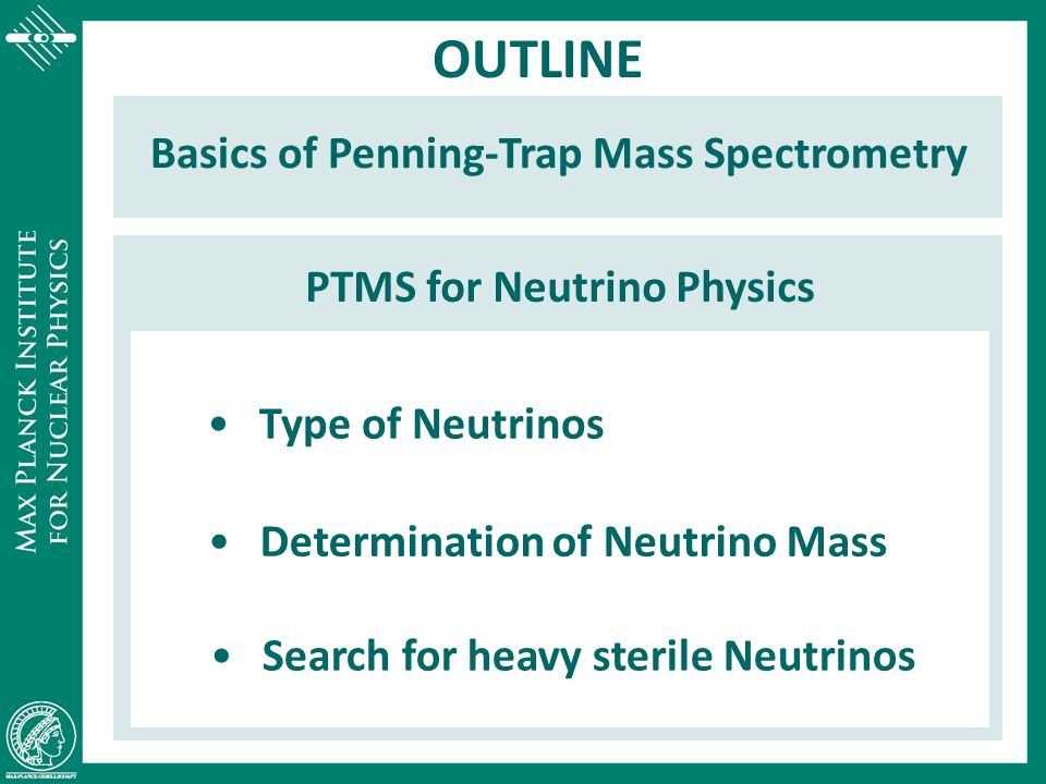 High Precision PTMS Q = M mother - M daughter of  and  transitions type of neutrinos heavy sterile neutrinos     neutrino mass    