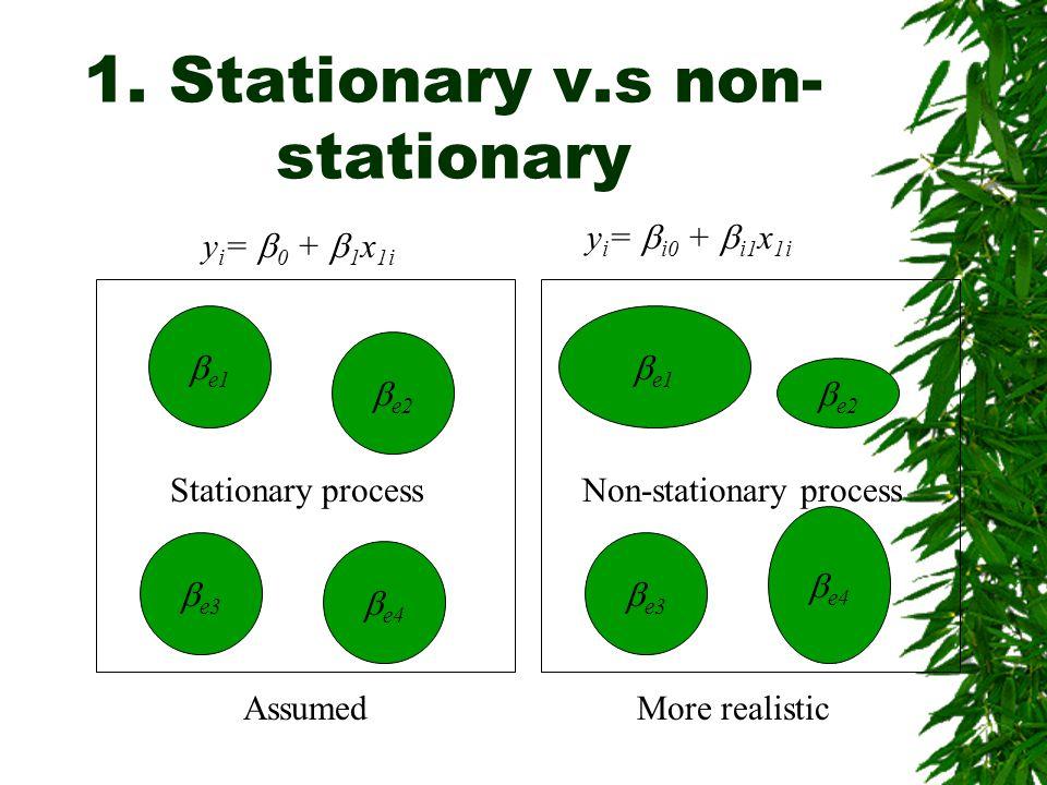 1. Stationary v.s non- stationary y i =  0 +  1 x 1i  e3  e2  e1  e4 Stationary process  e3  e2  e1  e4 Non-stationary process y i =  i0 +