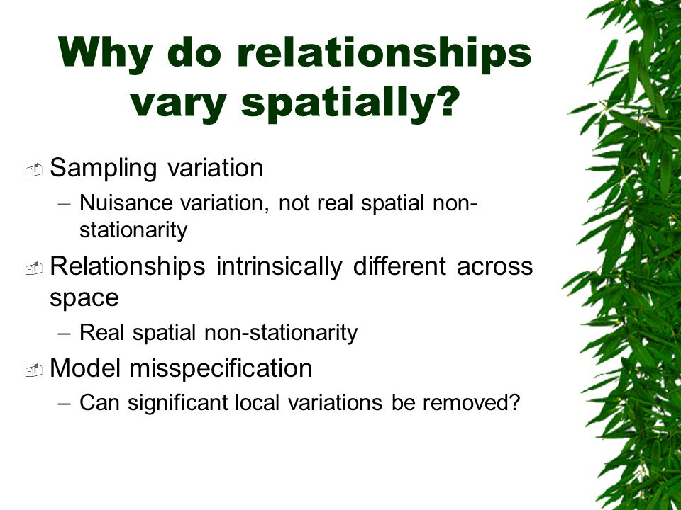 Why do relationships vary spatially?  Sampling variation –Nuisance variation, not real spatial non- stationarity  Relationships intrinsically differ