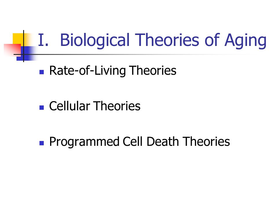 I. Biological Theories of Aging Rate-of-Living Theories Cellular Theories Programmed Cell Death Theories