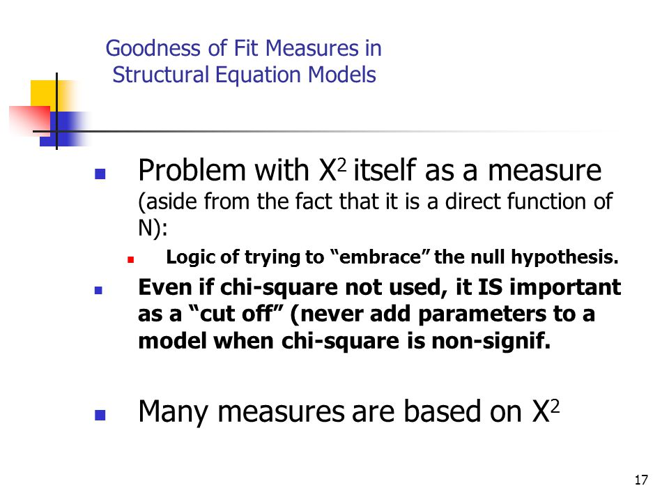 17 Goodness of Fit Measures in Structural Equation Models Problem with Χ 2 itself as a measure (aside from the fact that it is a direct function of N): Logic of trying to embrace the null hypothesis.