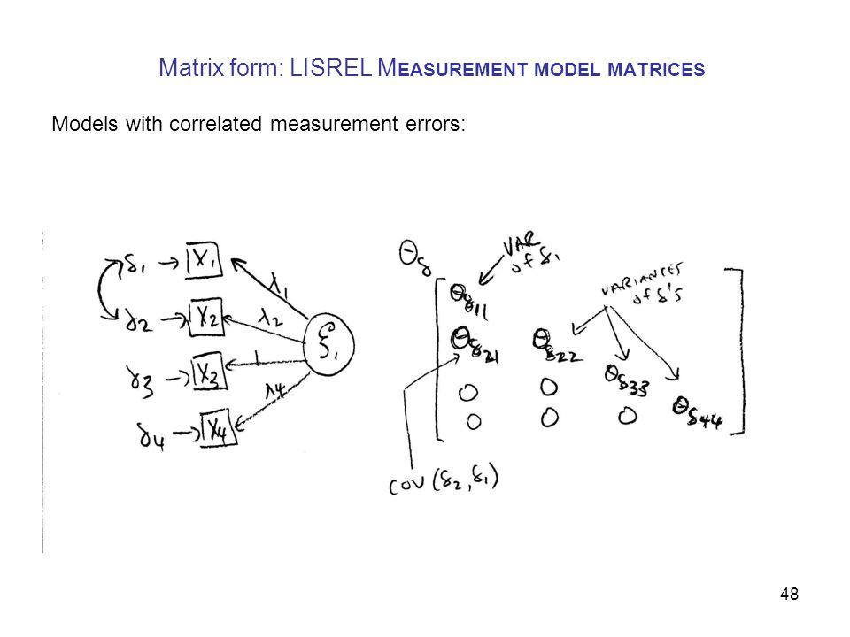 48 Matrix form: LISREL M EASUREMENT MODEL MATRICES Models with correlated measurement errors: