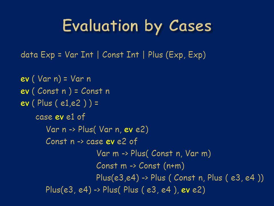 data Exp = Var Int | Const Int | Plus (Exp, Exp) ev ( Var n) = Var n ev ( Const n ) = Const n ev ( Plus ( e1,e2 ) ) = case ev e1 of Var n -> Plus( Var n, ev e2) Const n -> case ev e2 of Var m -> Plus( Const n, Var m) Const m -> Const (n+m) Plus(e3,e4) -> Plus ( Const n, Plus ( e3, e4 )) Plus(e3, e4) -> Plus( Plus ( e3, e4 ), ev e2)