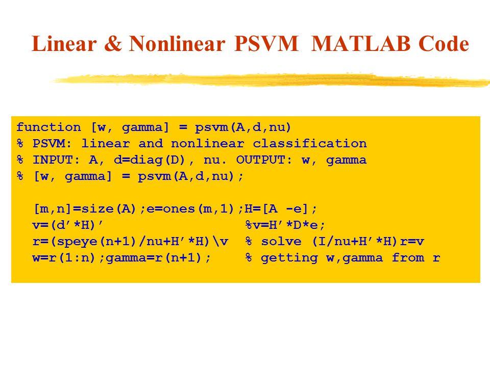 Linear & Nonlinear PSVM MATLAB Code function [w, gamma] = psvm(A,d,nu) % PSVM: linear and nonlinear classification % INPUT: A, d=diag(D), nu.