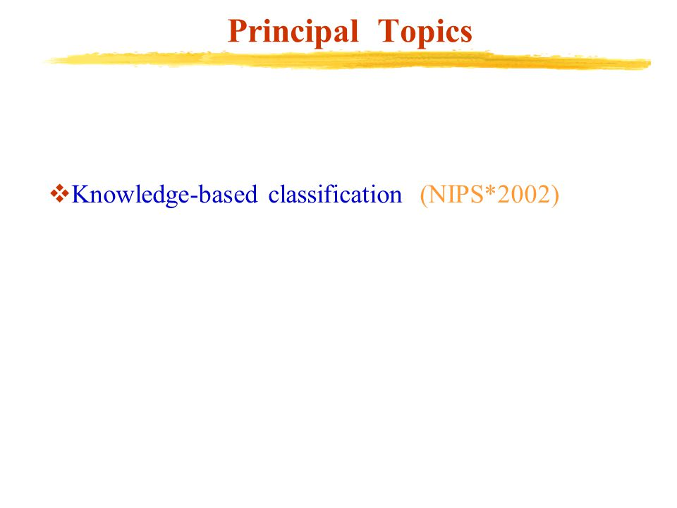 Principal Topics  Knowledge-based classification (NIPS*2002)