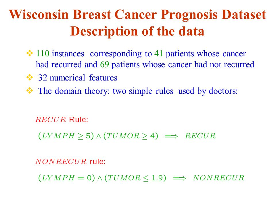 Wisconsin Breast Cancer Prognosis Dataset Description of the data  110 instances corresponding to 41 patients whose cancer had recurred and 69 patients whose cancer had not recurred  32 numerical features  The domain theory: two simple rules used by doctors:
