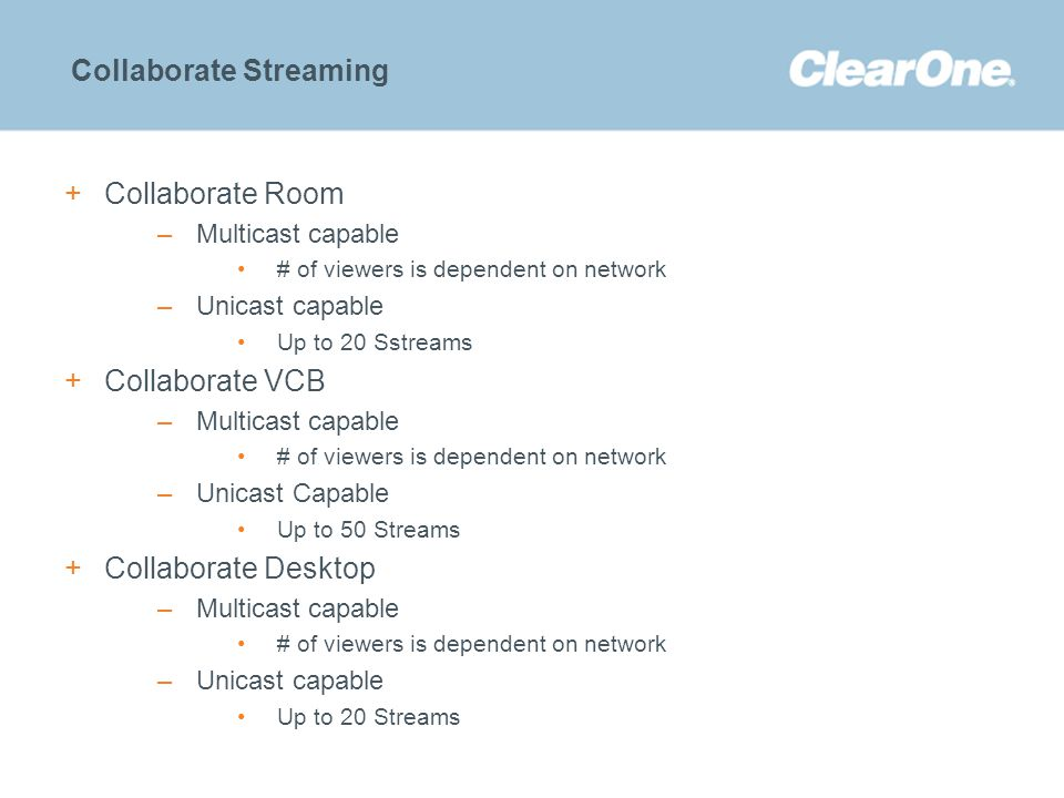 ©2012 ClearOne Communications. Confidential and proprietary. Collaborate Streaming +Collaborate Room –Multicast capable # of viewers is dependent on n
