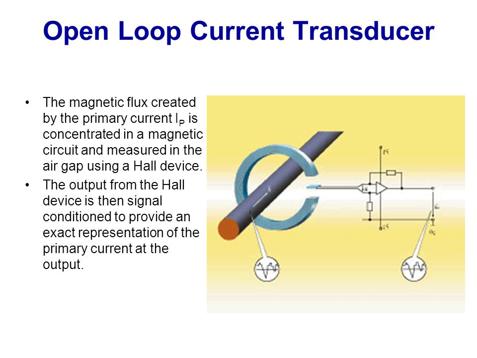 Open Loop Current Transducer The magnetic flux created by the primary current I P is concentrated in a magnetic circuit and measured in the air gap us