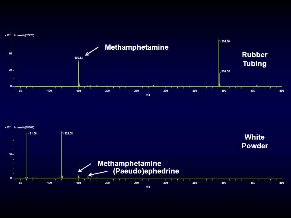 50100150200250300350400450500 m/z 0 20 40 Intensity(57470)x10 3 391.30 150.13 392.30 50100150200250300350400450500 m/z 0 50 Intensity(98301)x10 3 121.0861.06 Methamphetamine (Pseudo)ephedrine Rubber Tubing White Powder