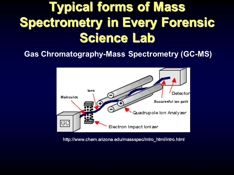 Typical forms of Mass Spectrometry in Every Forensic Science Lab Gas Chromatography-Mass Spectrometry (GC-MS) http://www.chem.arizona.edu/massspec/intro_html/intro.html
