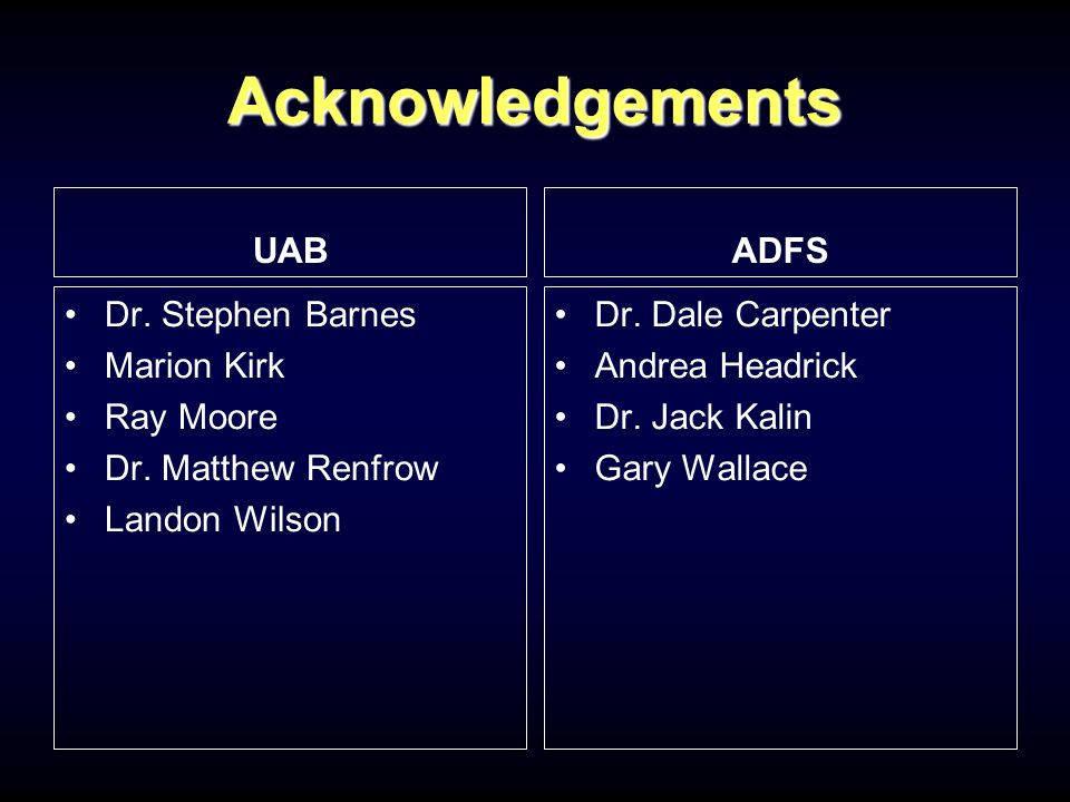 Acknowledgements UAB Dr.Stephen Barnes Marion Kirk Ray Moore Dr.
