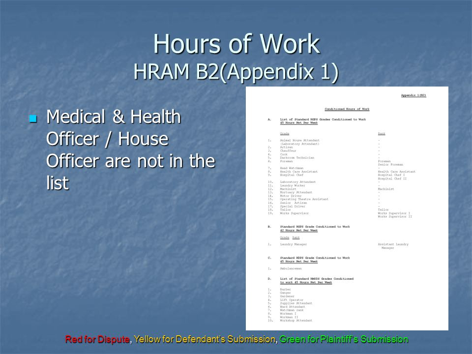Red for Dispute, Yellow for Defendant's Submission, Green for Plaintiff's Submission Hours of Work HRAM B2(Appendix 1) Medical & Health Officer / Hous