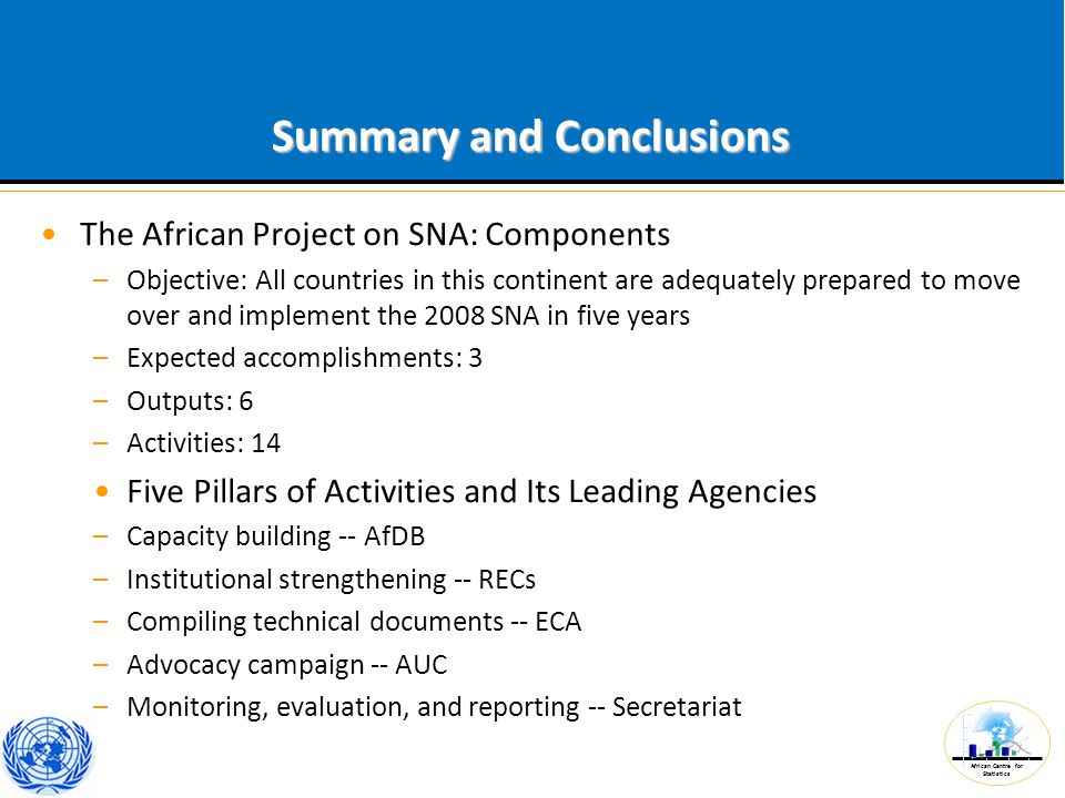 African Centre for Statistics Summary and Conclusions The African Project on SNA: Components –Objective: All countries in this continent are adequatel