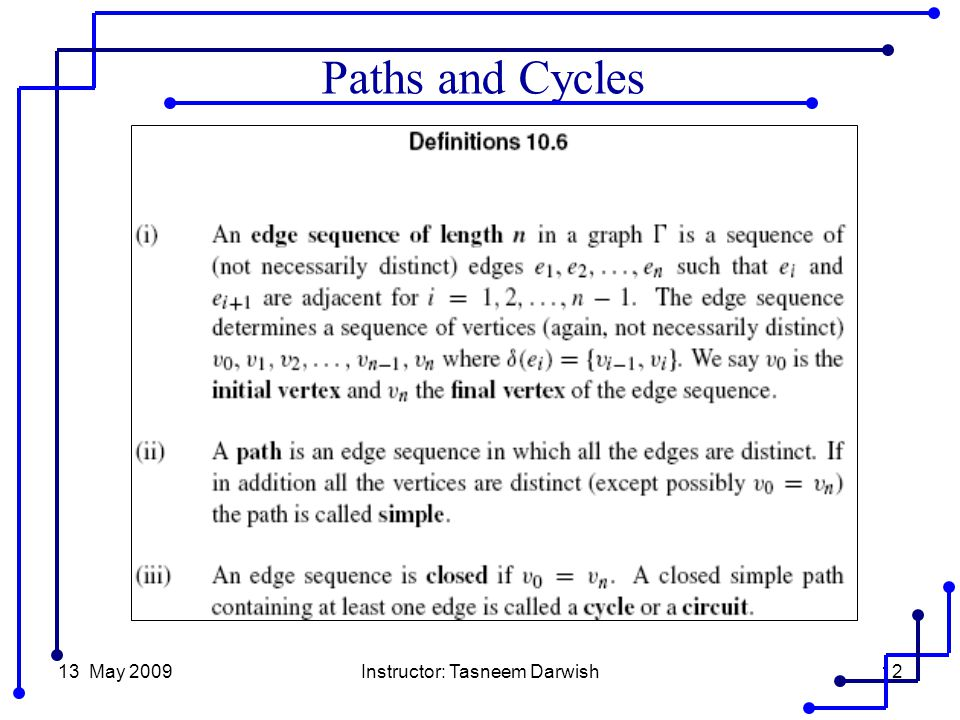 13 May 2009Instructor: Tasneem Darwish12 Paths and Cycles