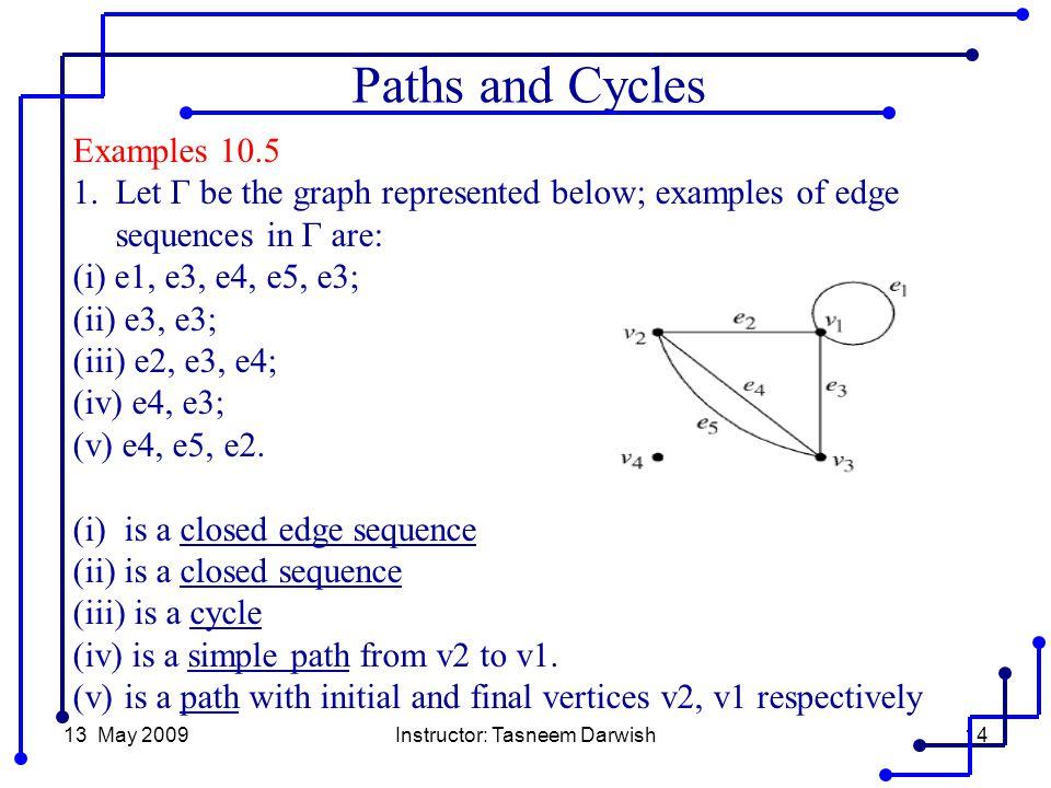 13 May 2009Instructor: Tasneem Darwish14 Examples 10.5 1.Let Γ be the graph represented below; examples of edge sequences in Γ are: (i) e1, e3, e4, e5, e3; (ii) e3, e3; (iii) e2, e3, e4; (iv) e4, e3; (v) e4, e5, e2.