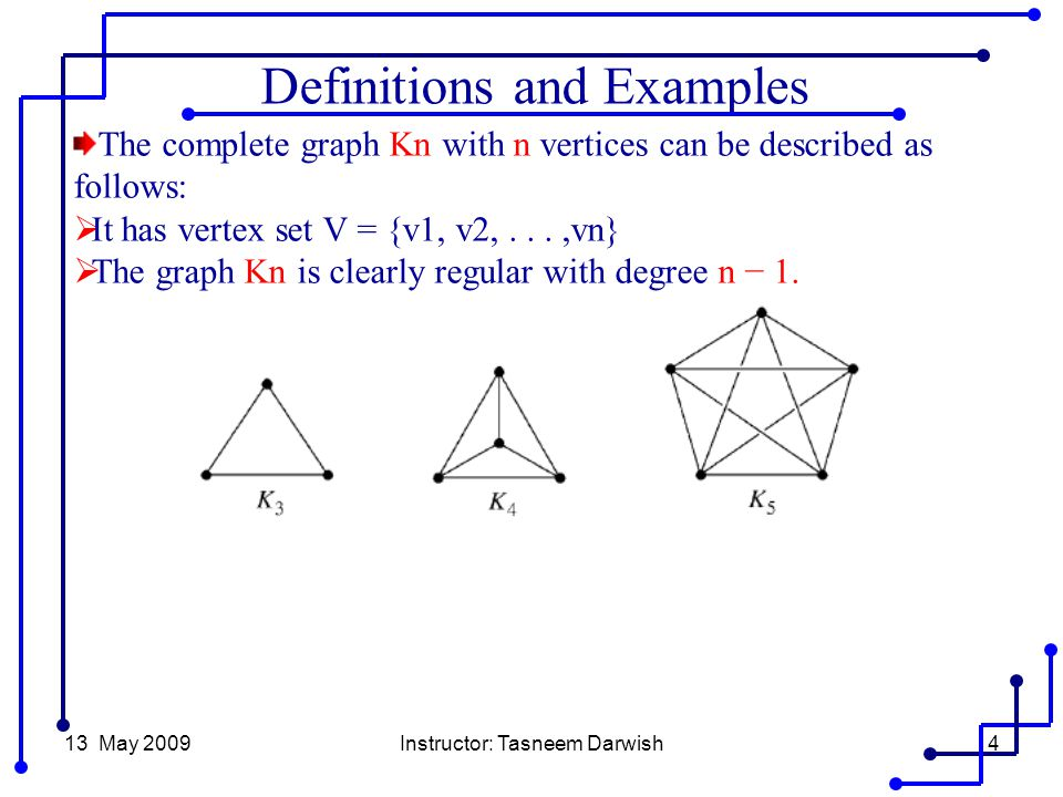 13 May 2009Instructor: Tasneem Darwish4 The complete graph Kn with n vertices can be described as follows:  It has vertex set V = {v1, v2,...,vn}  The graph Kn is clearly regular with degree n − 1.
