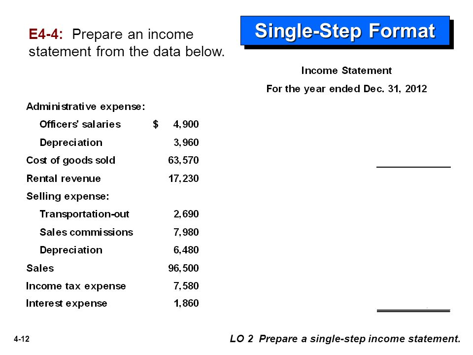 4-12 Single-Step Format LO 2 Prepare a single-step income statement. E4-4: Prepare an income statement from the data below.