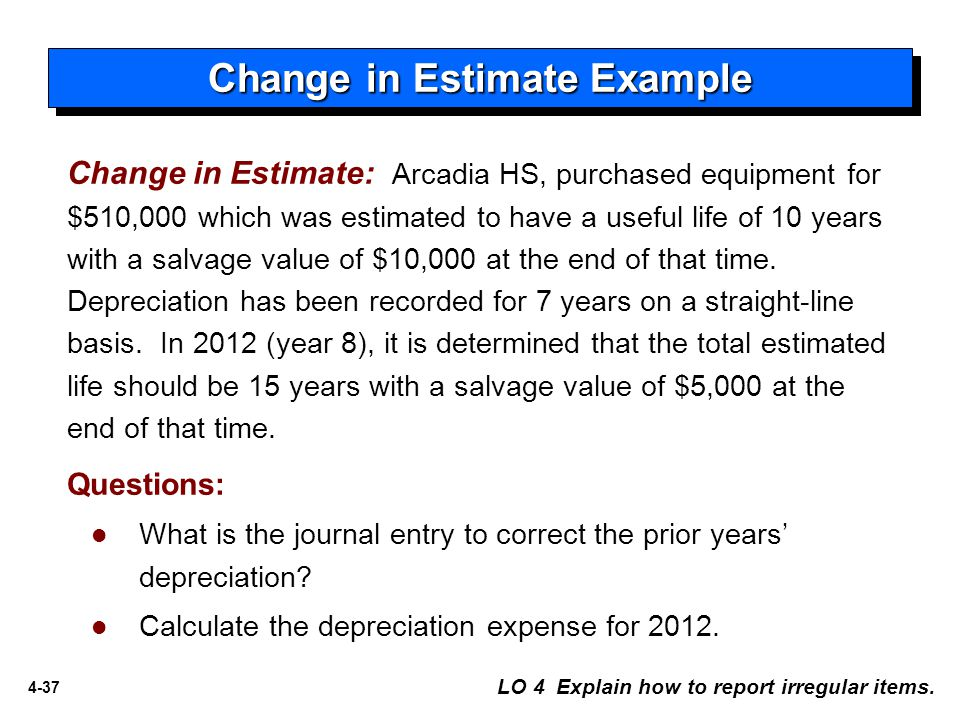 4-37 Change in Estimate: Arcadia HS, purchased equipment for $510,000 which was estimated to have a useful life of 10 years with a salvage value of $10,000 at the end of that time.