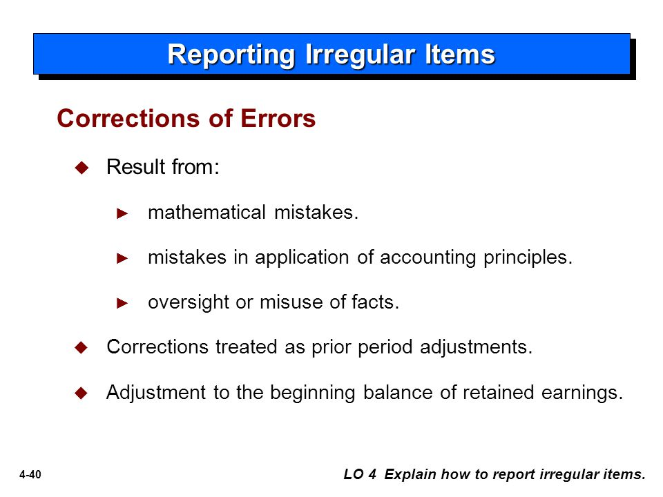 4-40  Result from: ► mathematical mistakes.► mistakes in application of accounting principles.