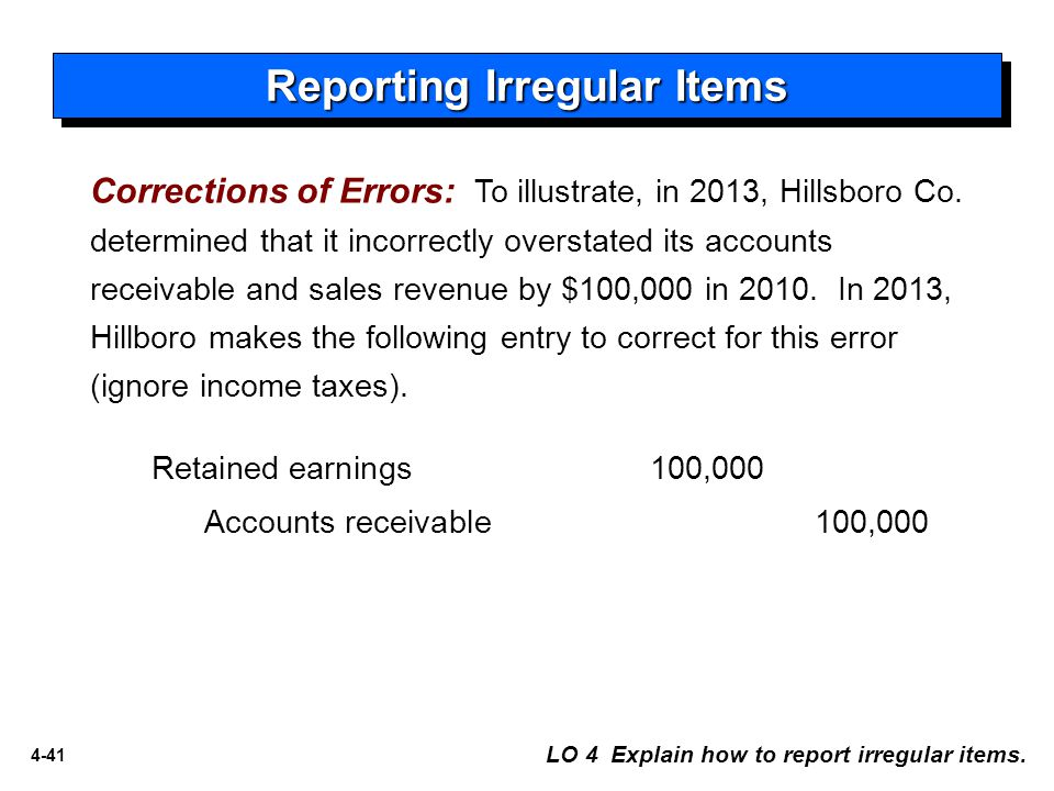 4-41 Corrections of Errors: To illustrate, in 2013, Hillsboro Co. determined that it incorrectly overstated its accounts receivable and sales revenue