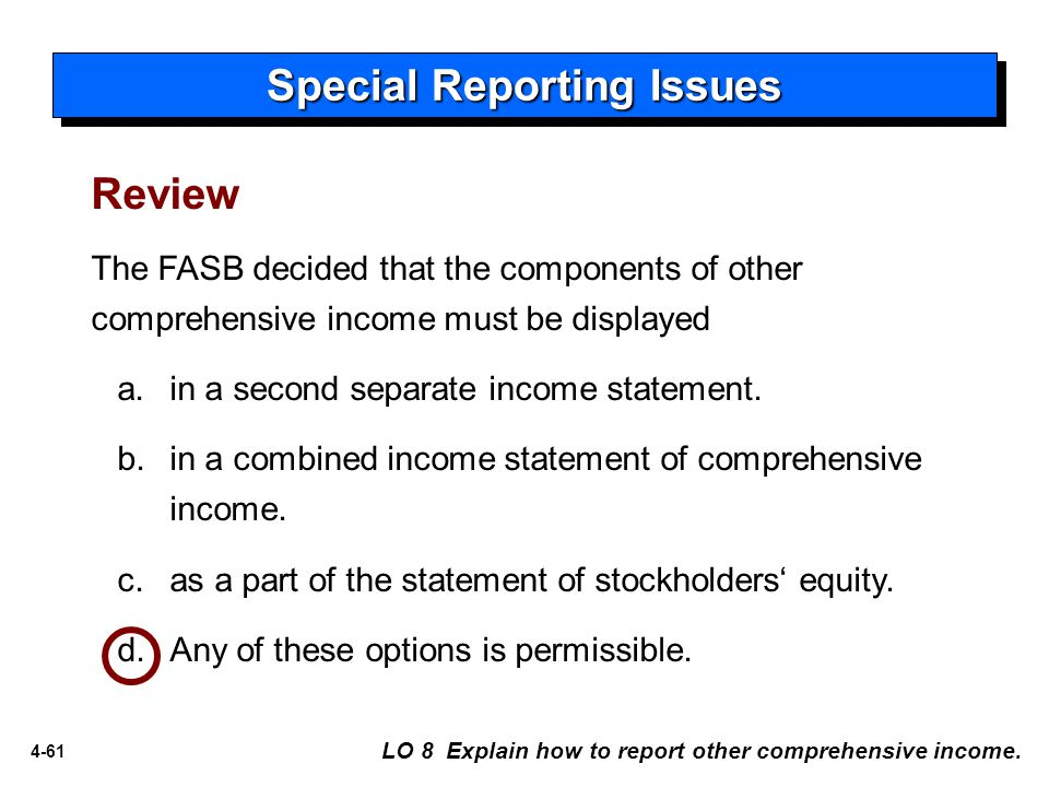 4-61 Review The FASB decided that the components of other comprehensive income must be displayed a.in a second separate income statement.