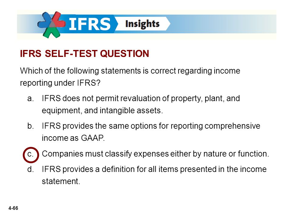 4-66 Which of the following statements is correct regarding income reporting under IFRS? a.IFRS does not permit revaluation of property, plant, and eq