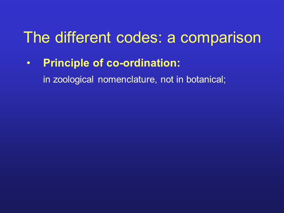 Principle of co-ordination: in zoological nomenclature, not in botanical; The different codes: a comparison