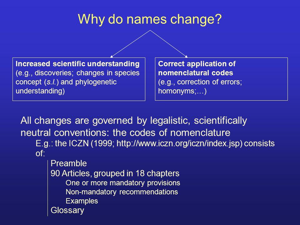 Ruling principles Nomenclature = naming tool Nomenclature only follows taxonomy