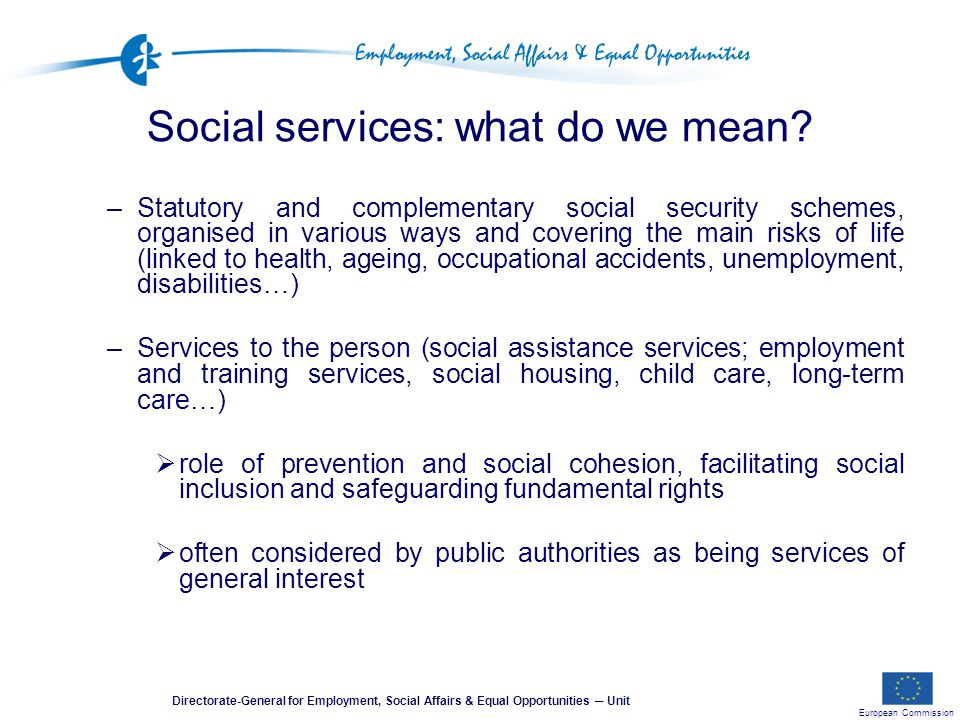 European Commission Directorate-General for Employment, Social Affairs & Equal Opportunities ─ Unit Social services: what do we mean.
