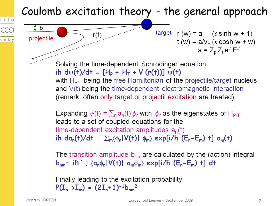 Wolfram KORTEN 2 Euroschool Leuven – September 2009 Coulomb excitation theory - the general approach Solving the time-dependent Schrödinger equation: