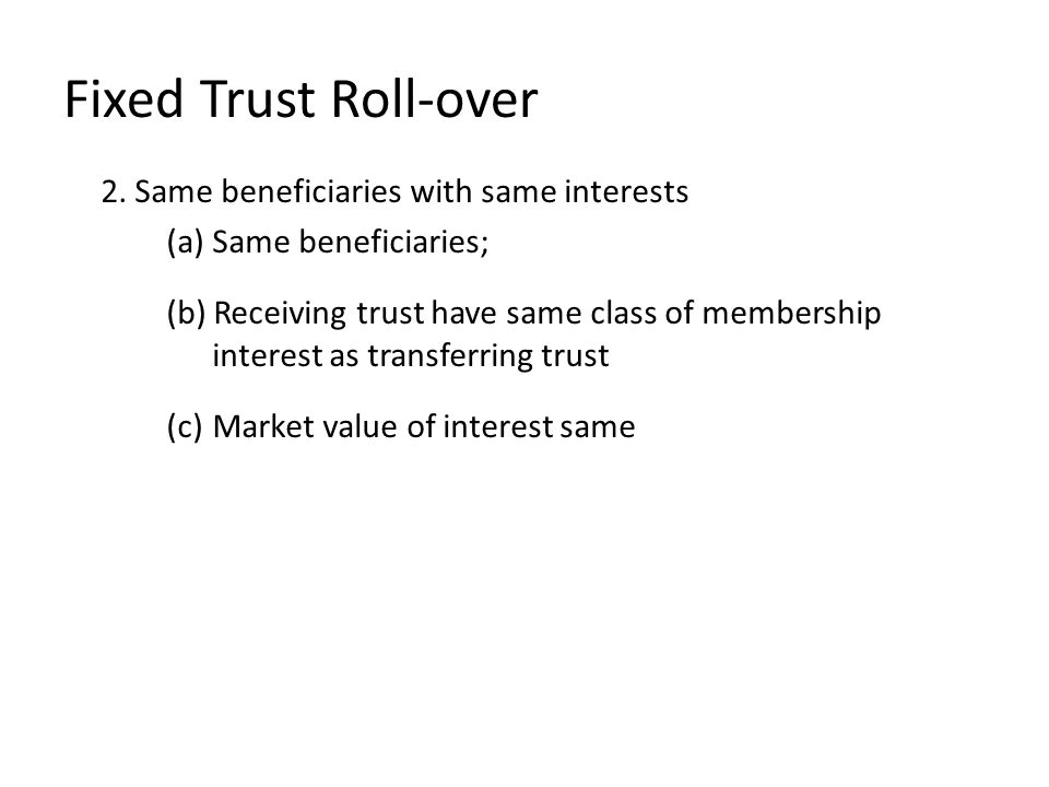 Fixed Trust Roll-over 2.