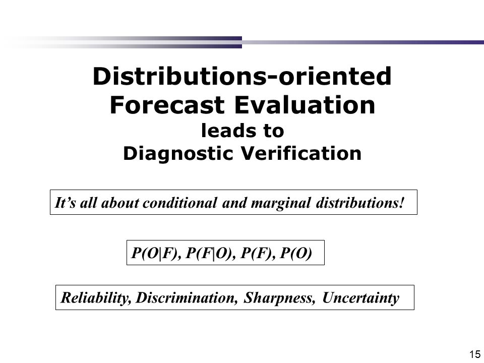 15 Distributions-oriented Forecast Evaluation leads to Diagnostic Verification It's all about conditional and marginal distributions.