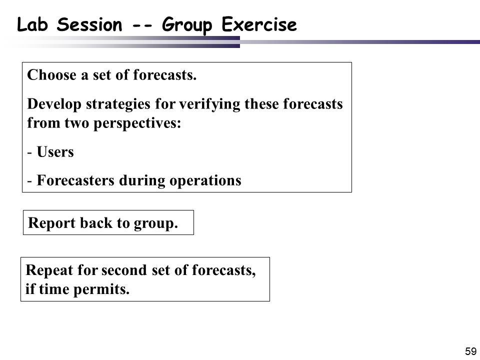 59 Lab Session -- Group Exercise Choose a set of forecasts.