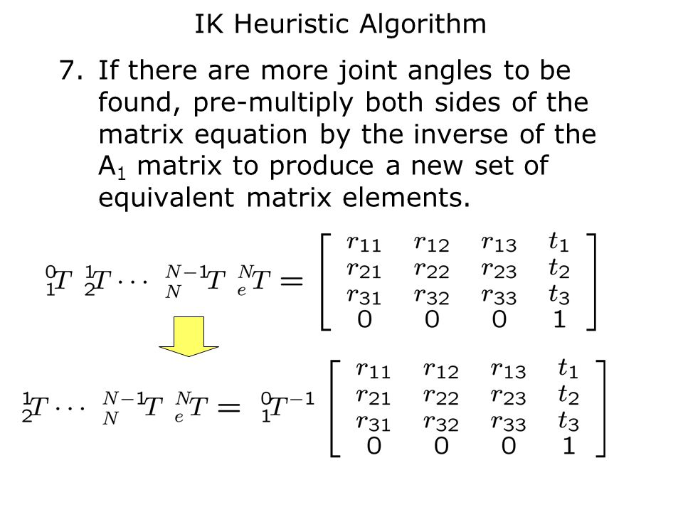 IK Heuristic Algorithm 7.If there are more joint angles to be found, pre-multiply both sides of the matrix equation by the inverse of the A 1 matrix to produce a new set of equivalent matrix elements.