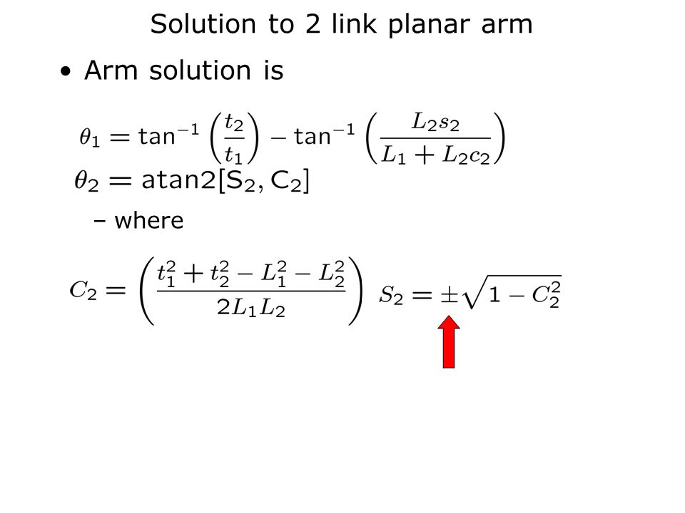 Solution to 2 link planar arm Arm solution is –where