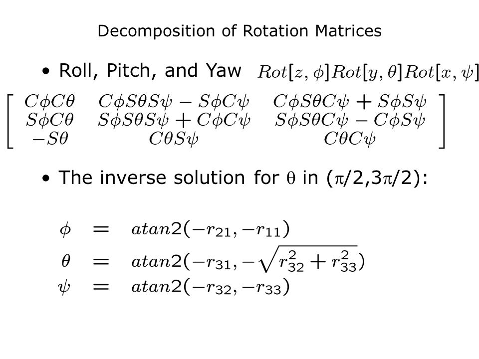 Decomposition of Rotation Matrices Roll, Pitch, and Yaw The inverse solution for  in (/2,3/2):
