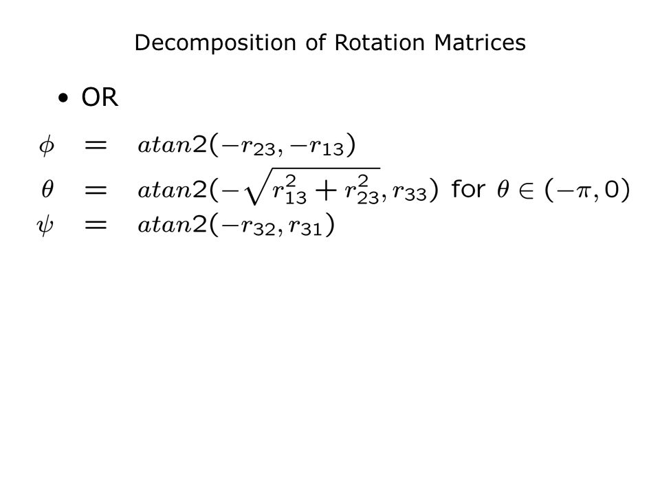 Decomposition of Rotation Matrices OR